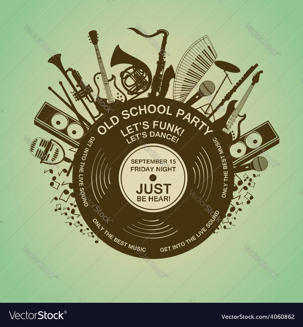 Invitation with musical instruments and vinyl vector