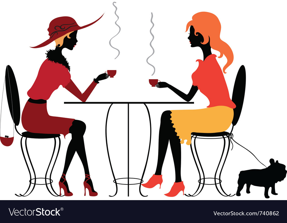 Two women in the cafe vector