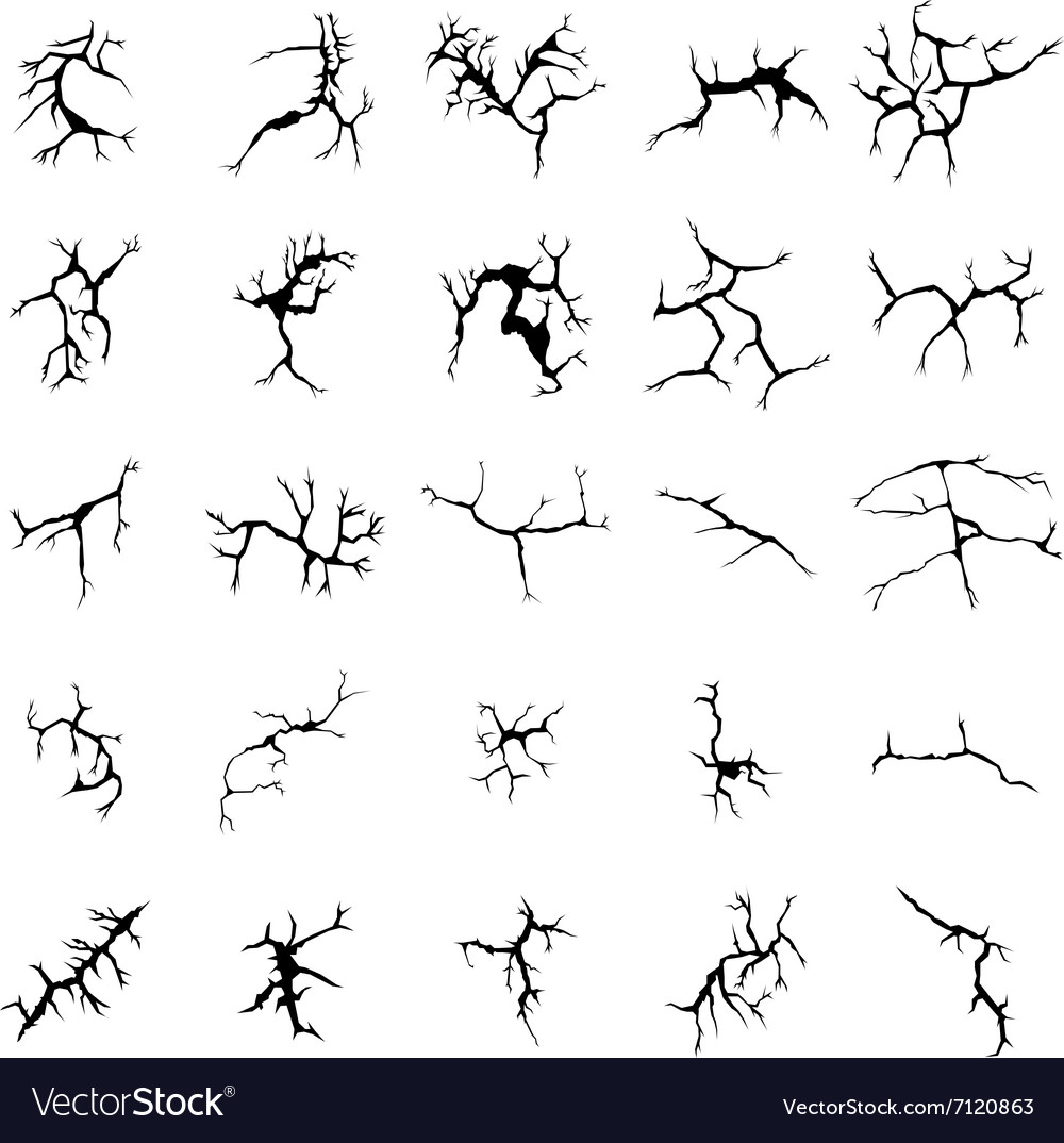 Cracks and clefs silhouettes set vector