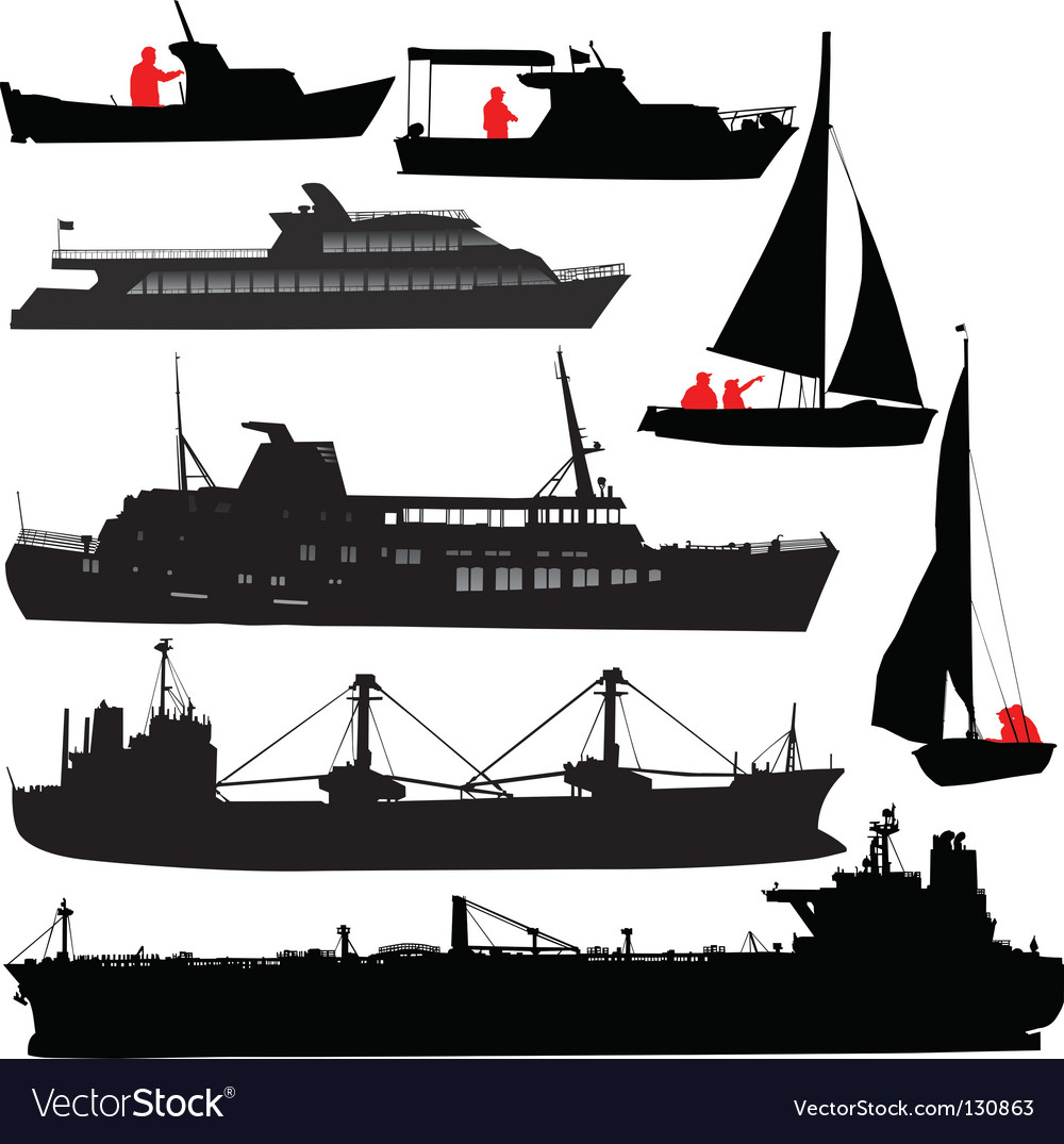 Ship silhouettes vector