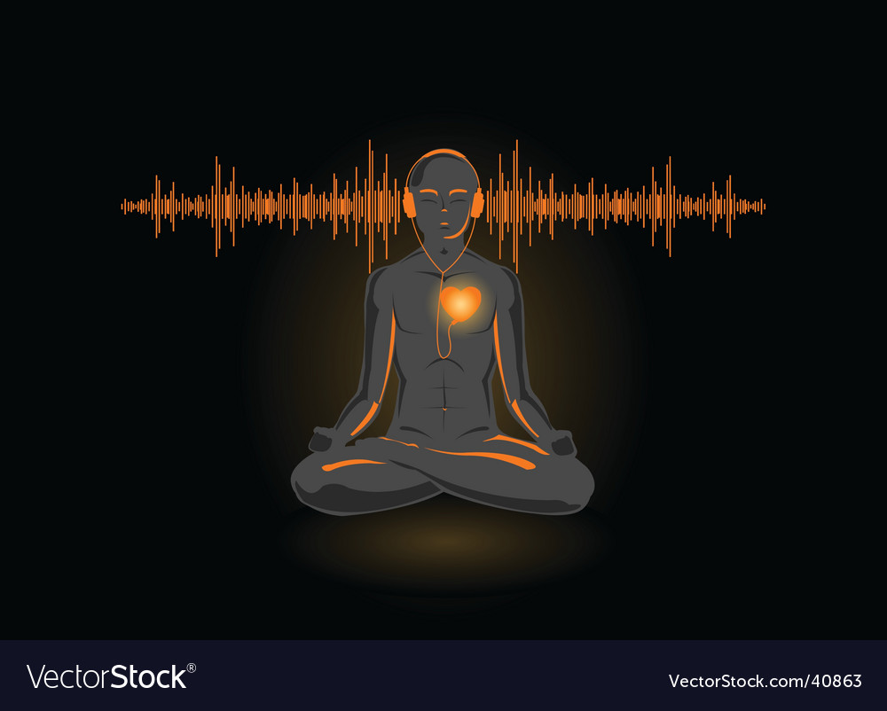Yoga and music vector