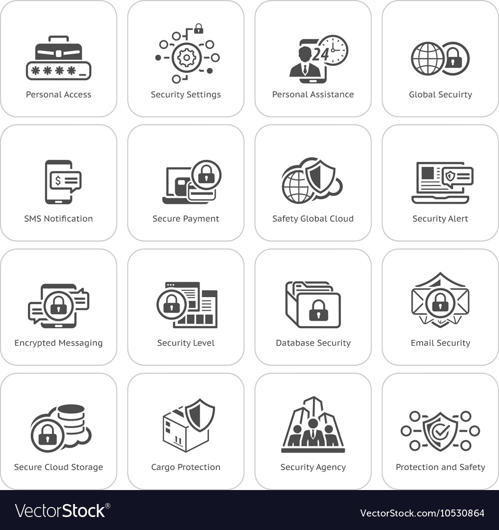 Flat design security and protection icons set vector