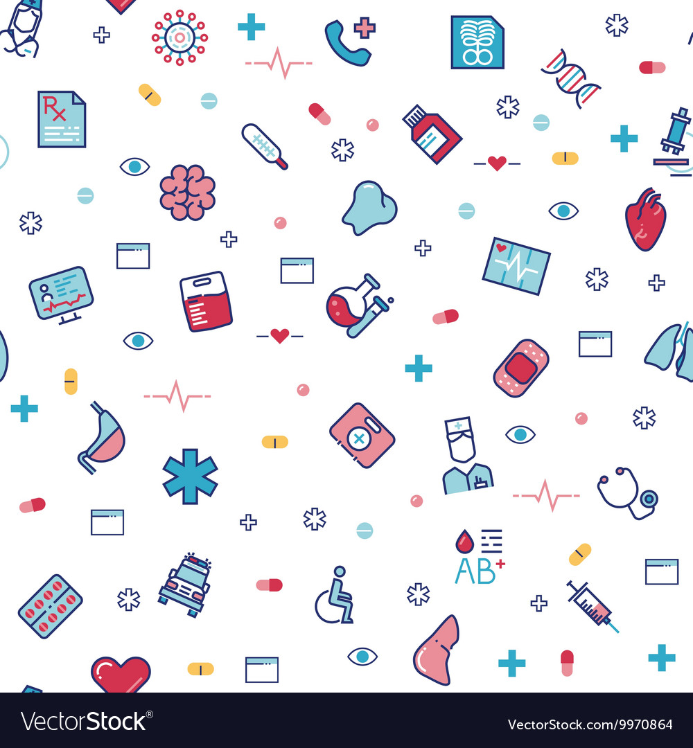 Medical healthcare seamless pattern with vector