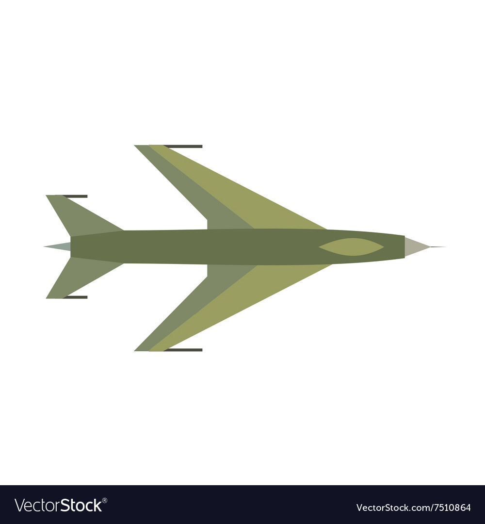 New flying jet fighter flat icon vector