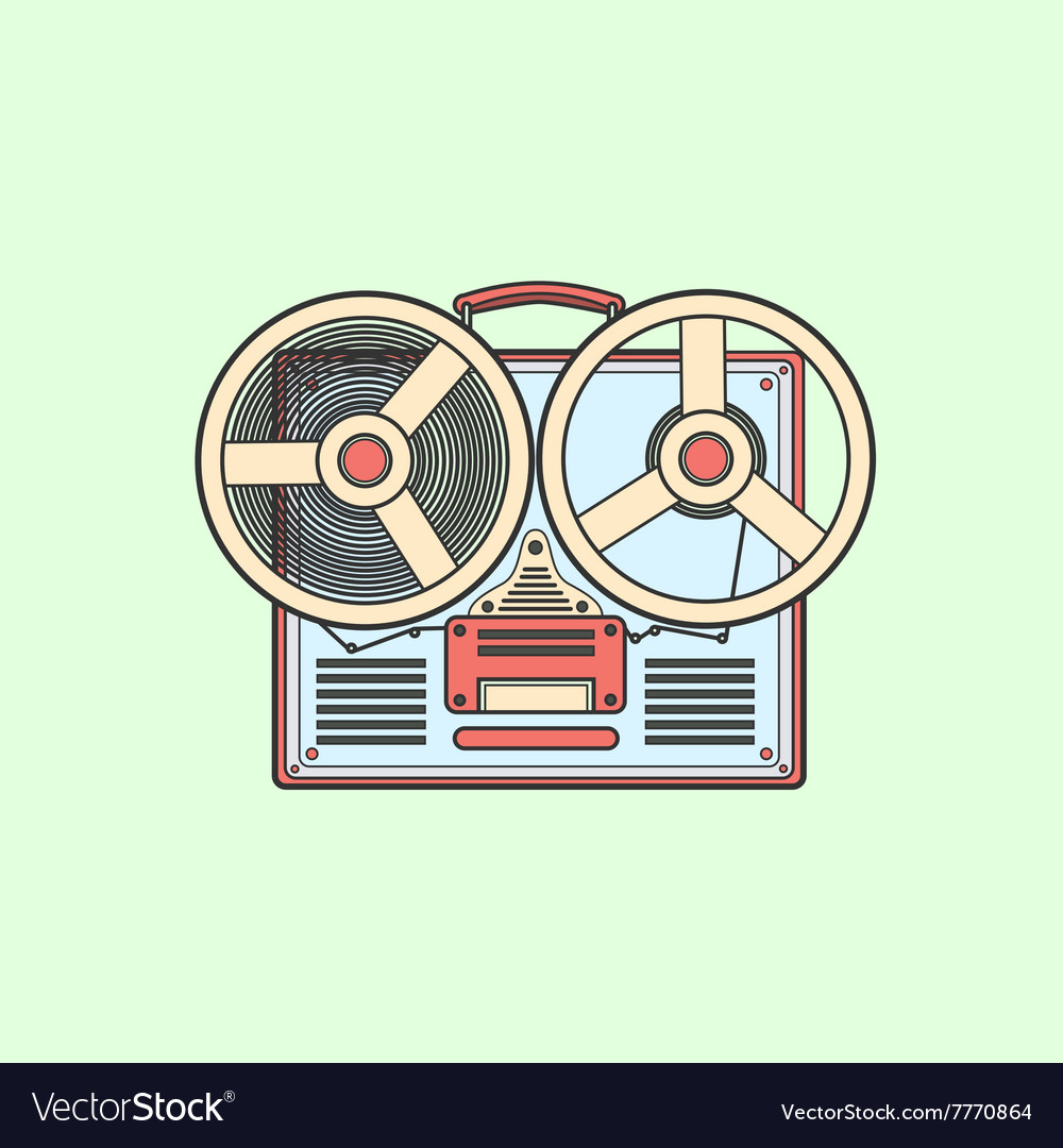 Obsolete tape recorder with two bobbins vector