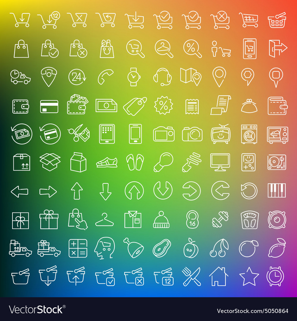 One hundred icons set vector
