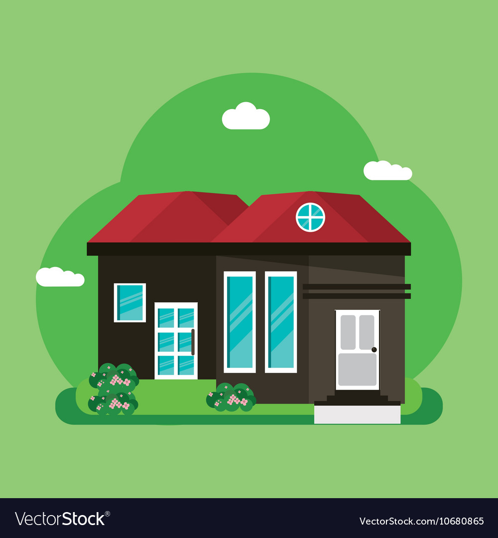 Colorful home building design vector
