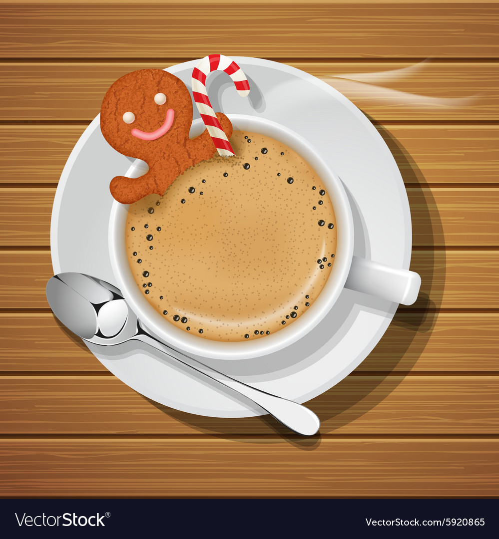Gingerbread cookie with sugar cane in hot coffee vector