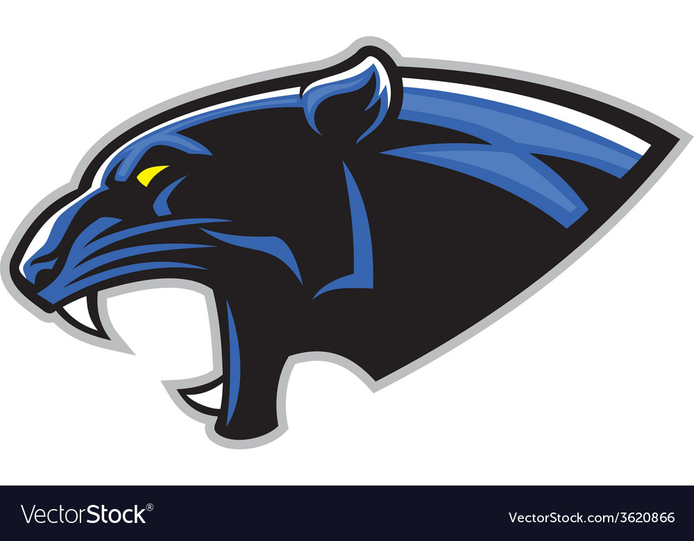 Simple black panther head vector