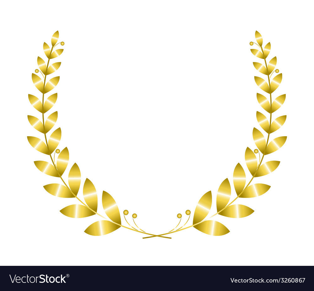 Golgen laurel wreath vector