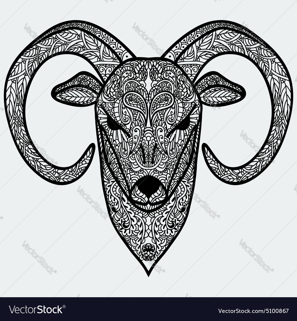 Ornamental head of goat or sheep  a symbol of new vector