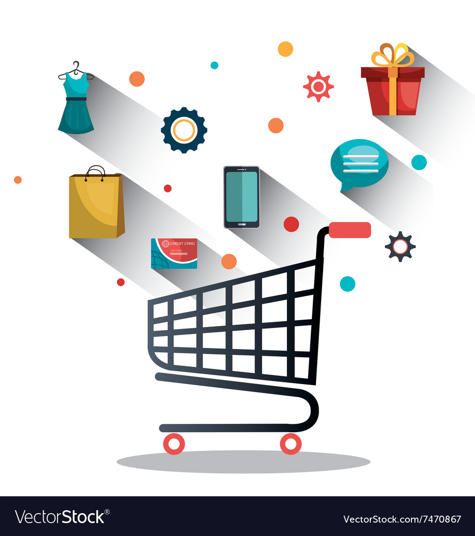 Shopping online and digital marketing vector
