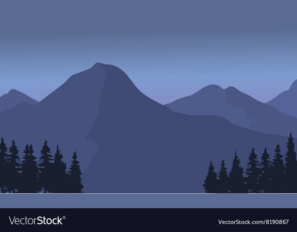 Silhouette of a tall mountain landscape vector