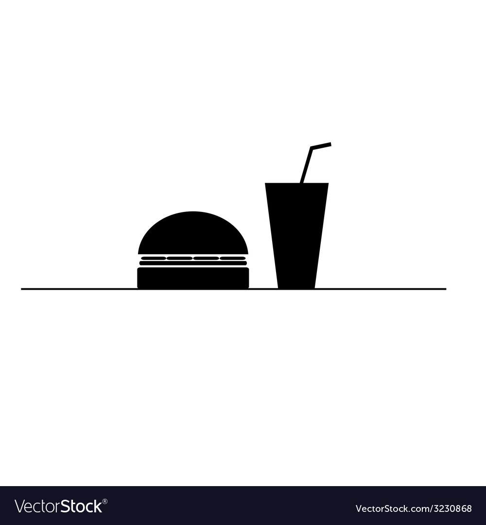 Hamburger and juice in a glass black and white vector