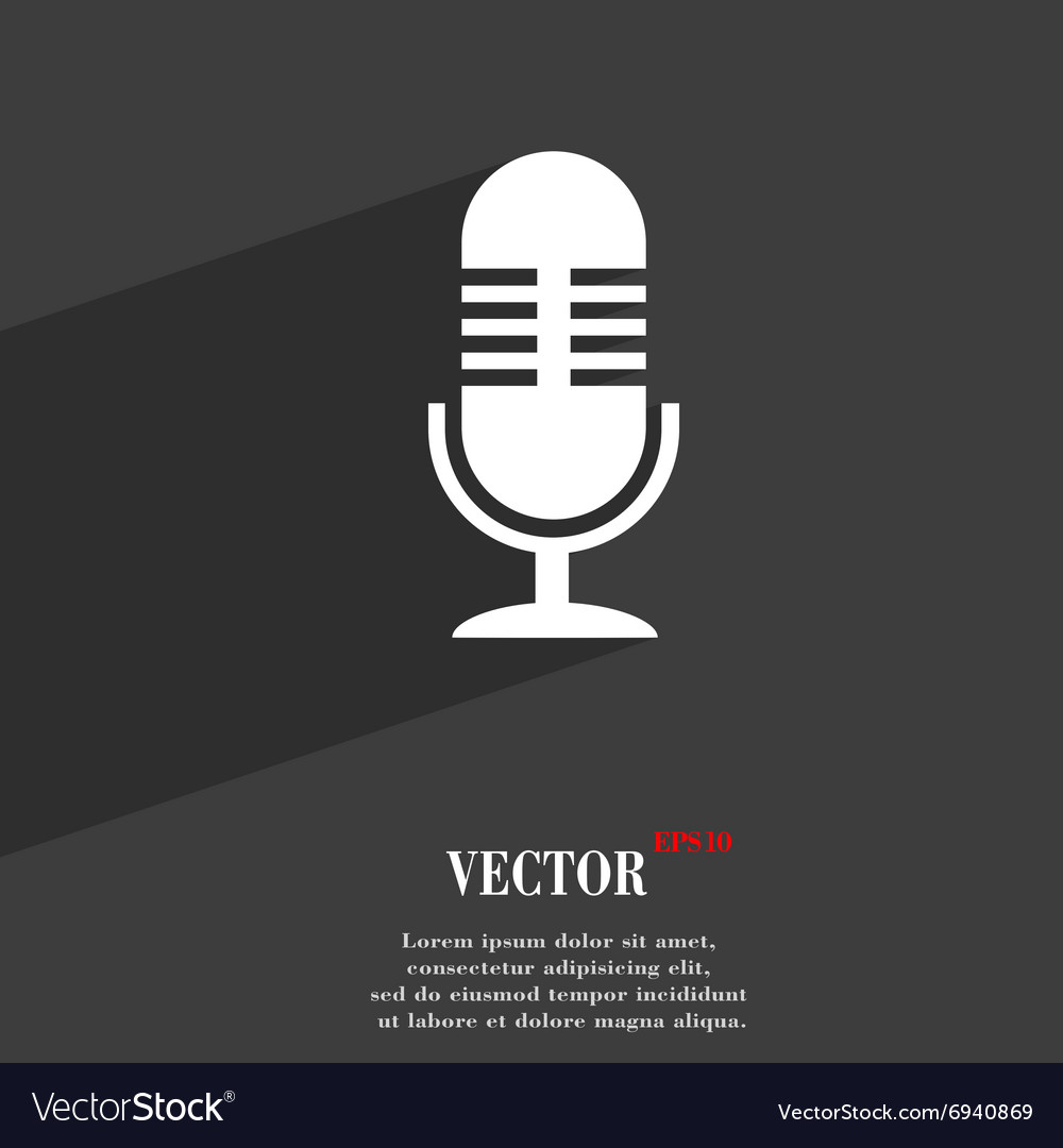 Microphone symbol flat modern web design with long vector