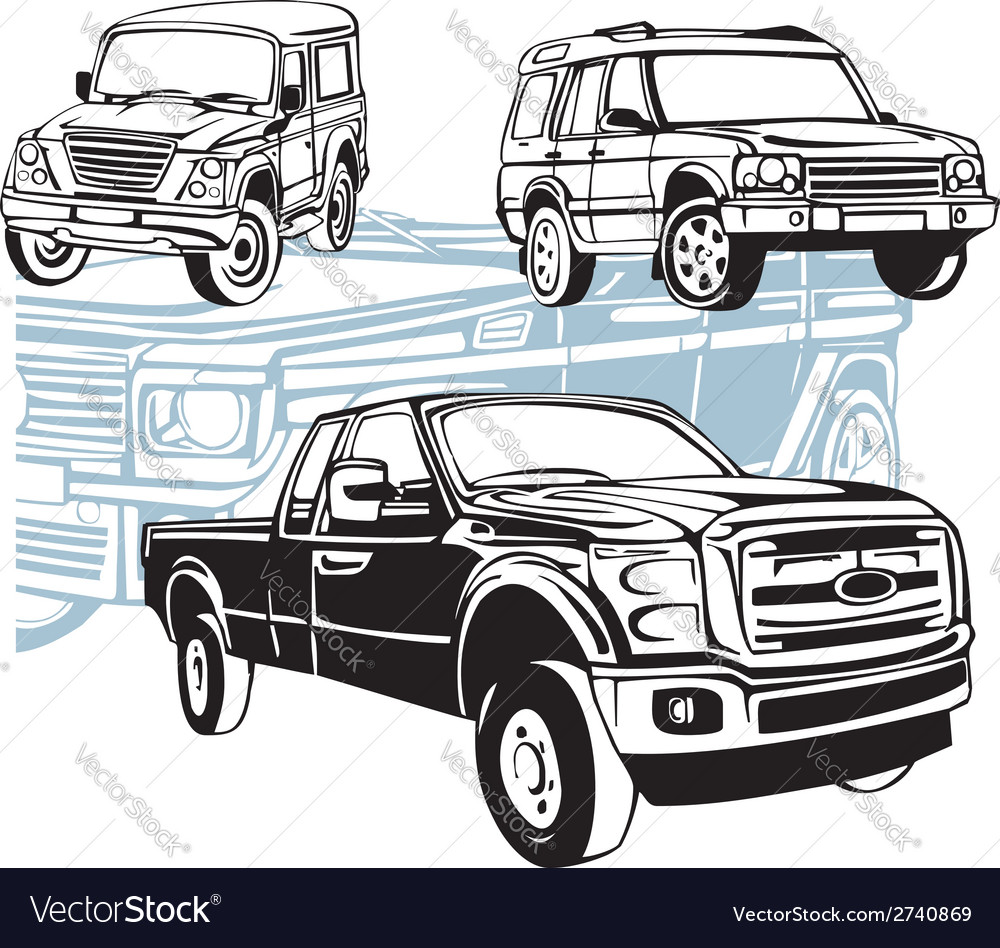 Offroad cars  set vector