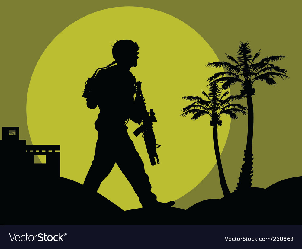 Soldiers in the desert vector