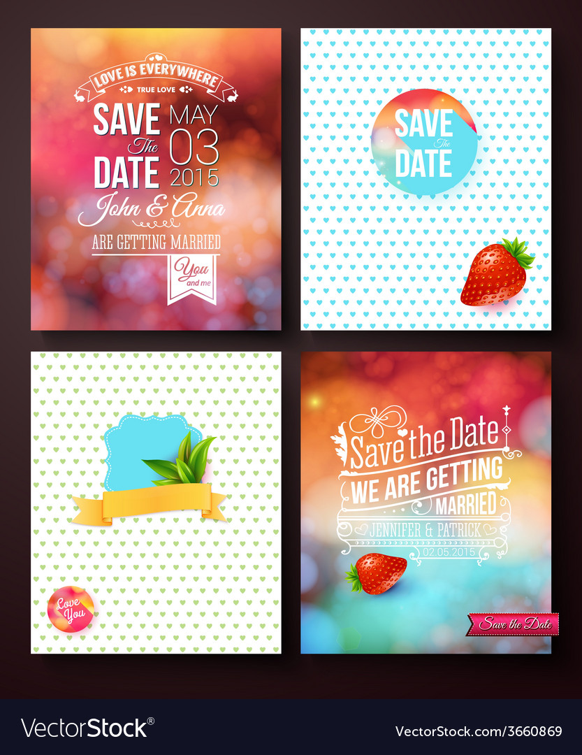 Wedding card templates on abstract backgrounds vector