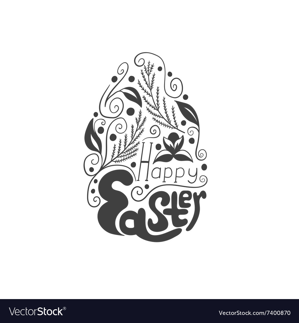 Greeting card with doodle easter egg vector