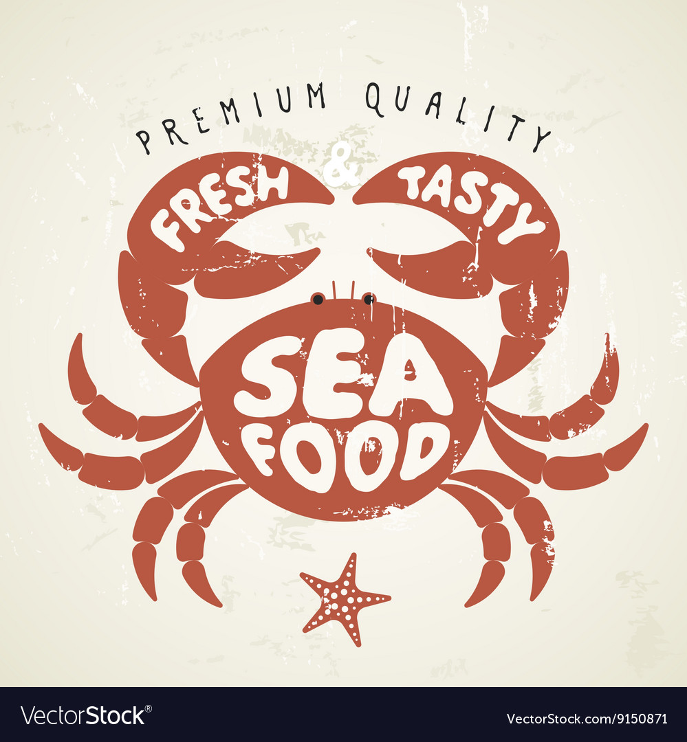 Cartoon crab seafood menu vector