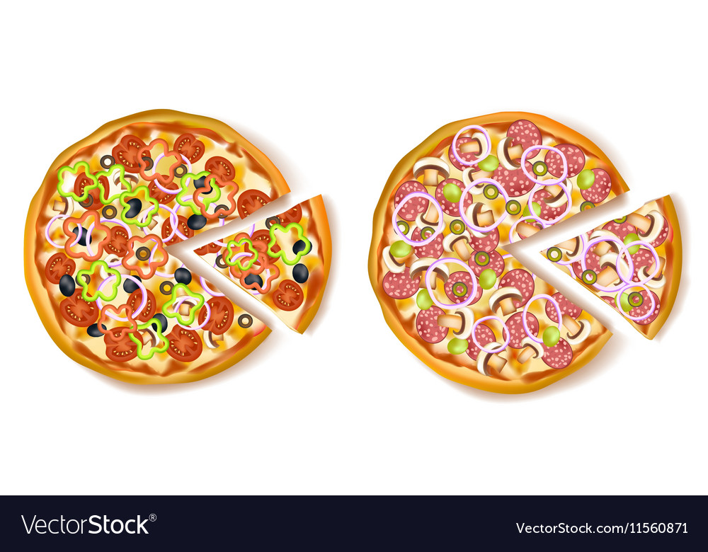 Pizza with slice composition vector