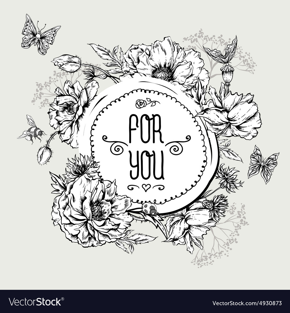 Summer monochrome vintage greeting card with vector