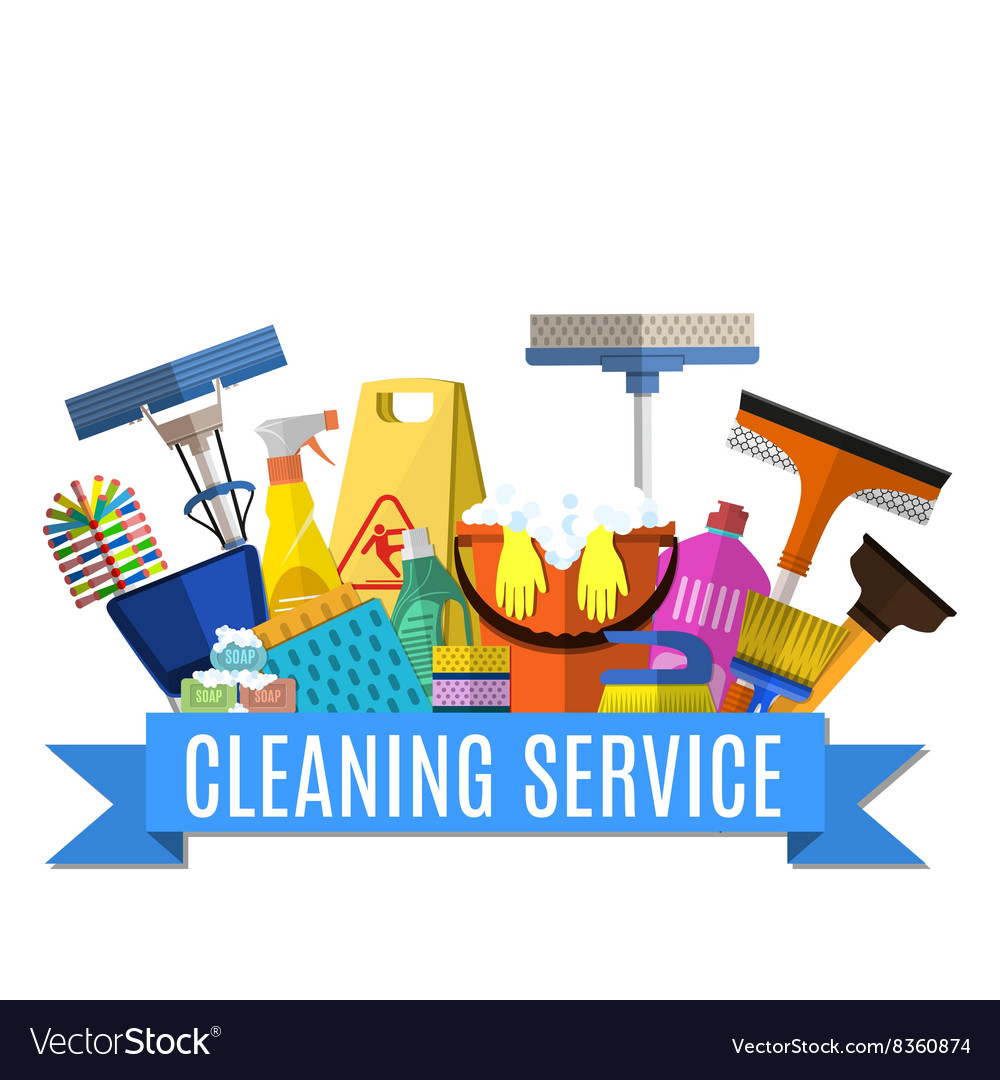 Cleaning service flat vector