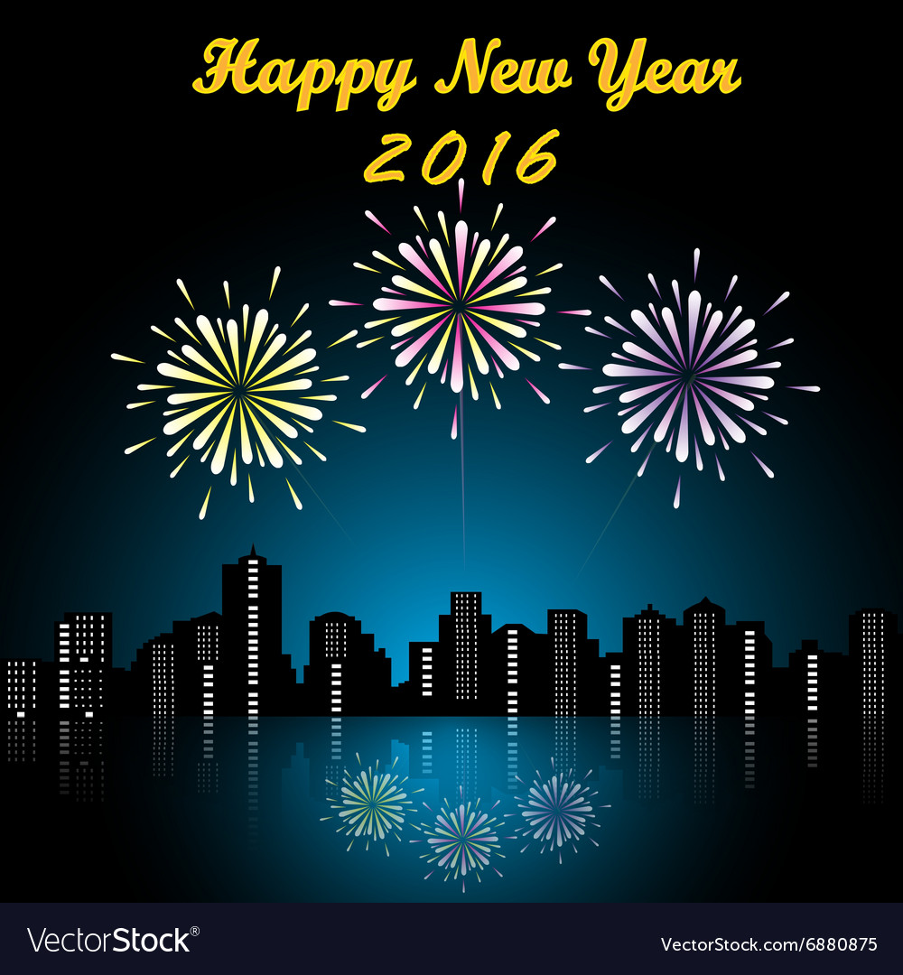 Happy new year firework 2016 vector
