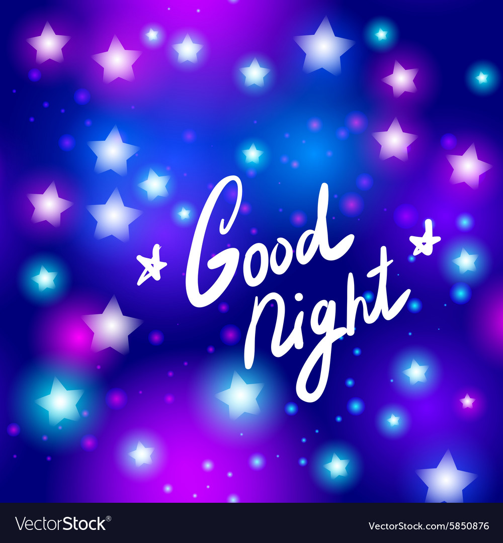 Good night letter abstract neon star on blue vector