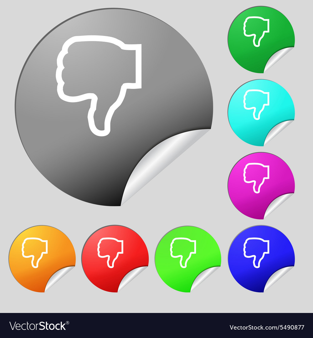 Dislike icon sign set of eight multi colored round vector