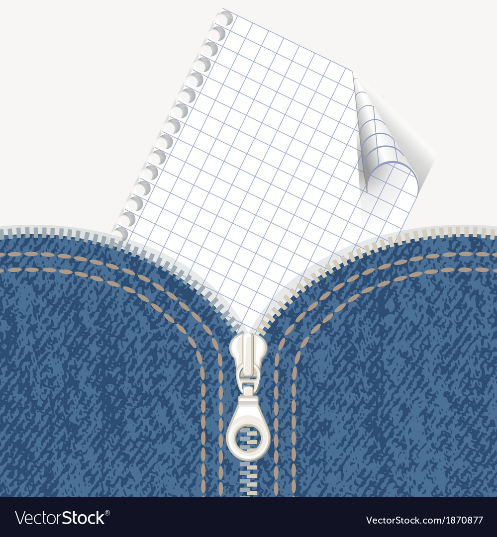 Jeans background with zipper and note vector
