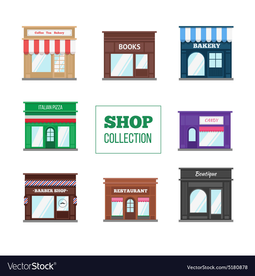 Flat shops and stores collection vector