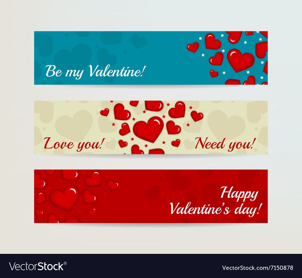Valentines day horizontal banners set with hearts vector