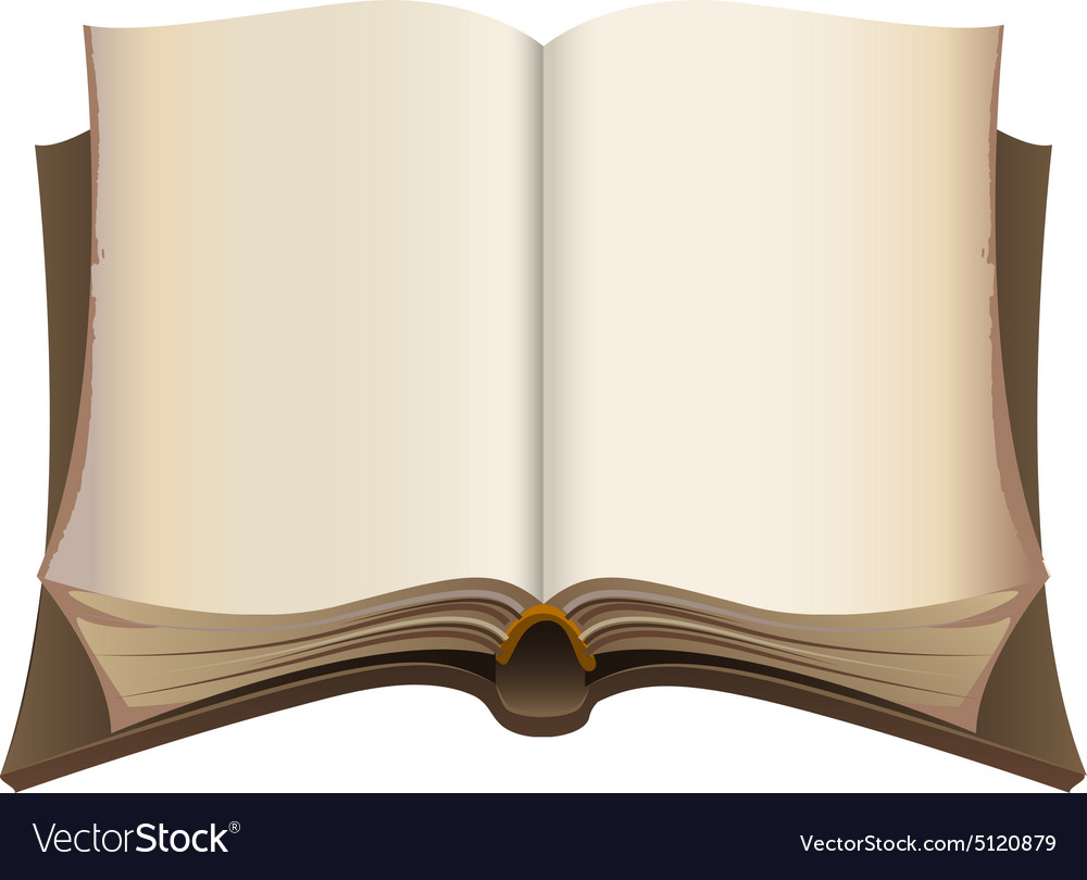 Brown old open book vector