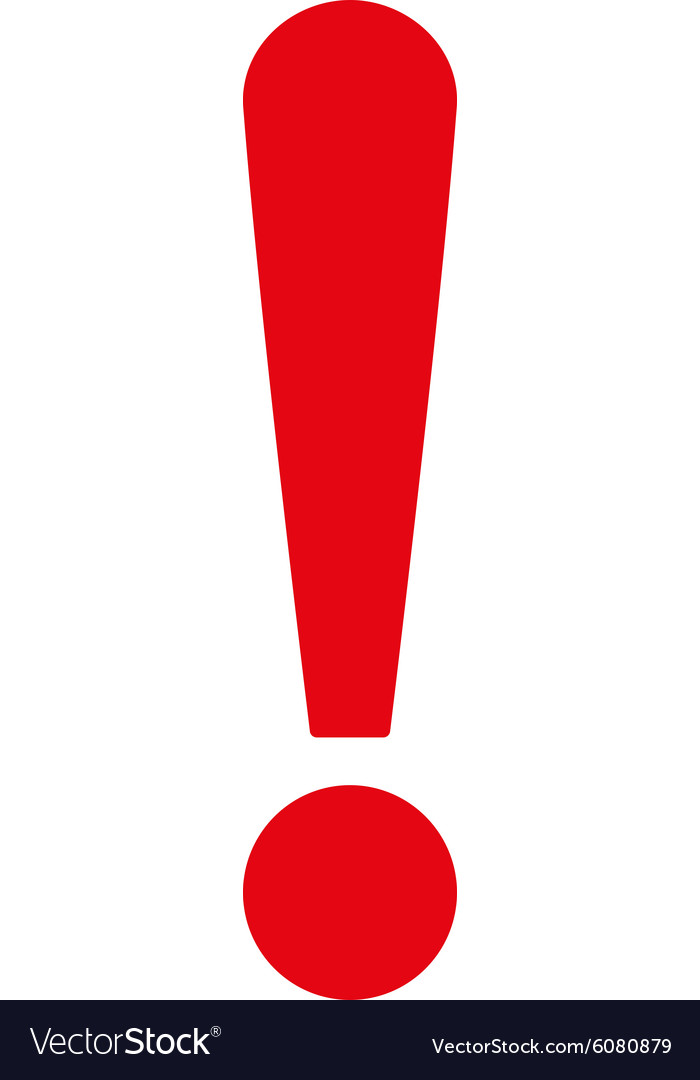 Exclamation sign flat red color icon vector