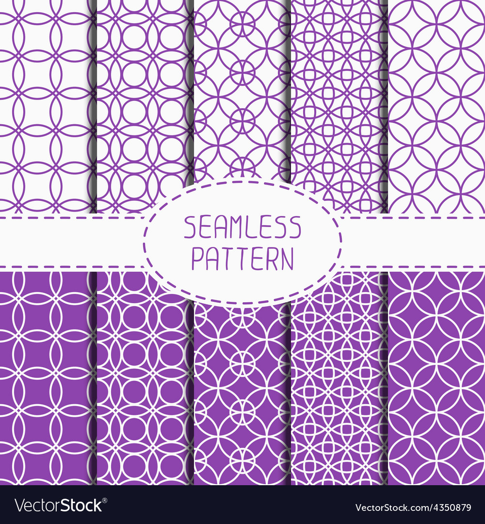 Set of purple geometric seamless pattern with vector
