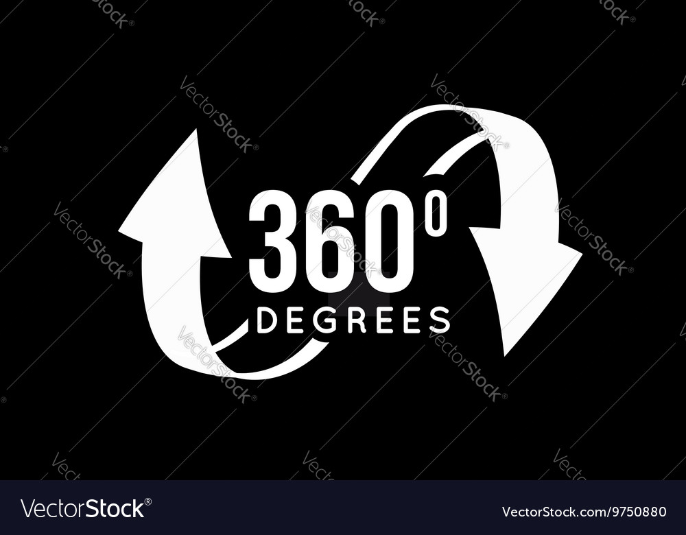 Angle 360 degrees view sign icon vector