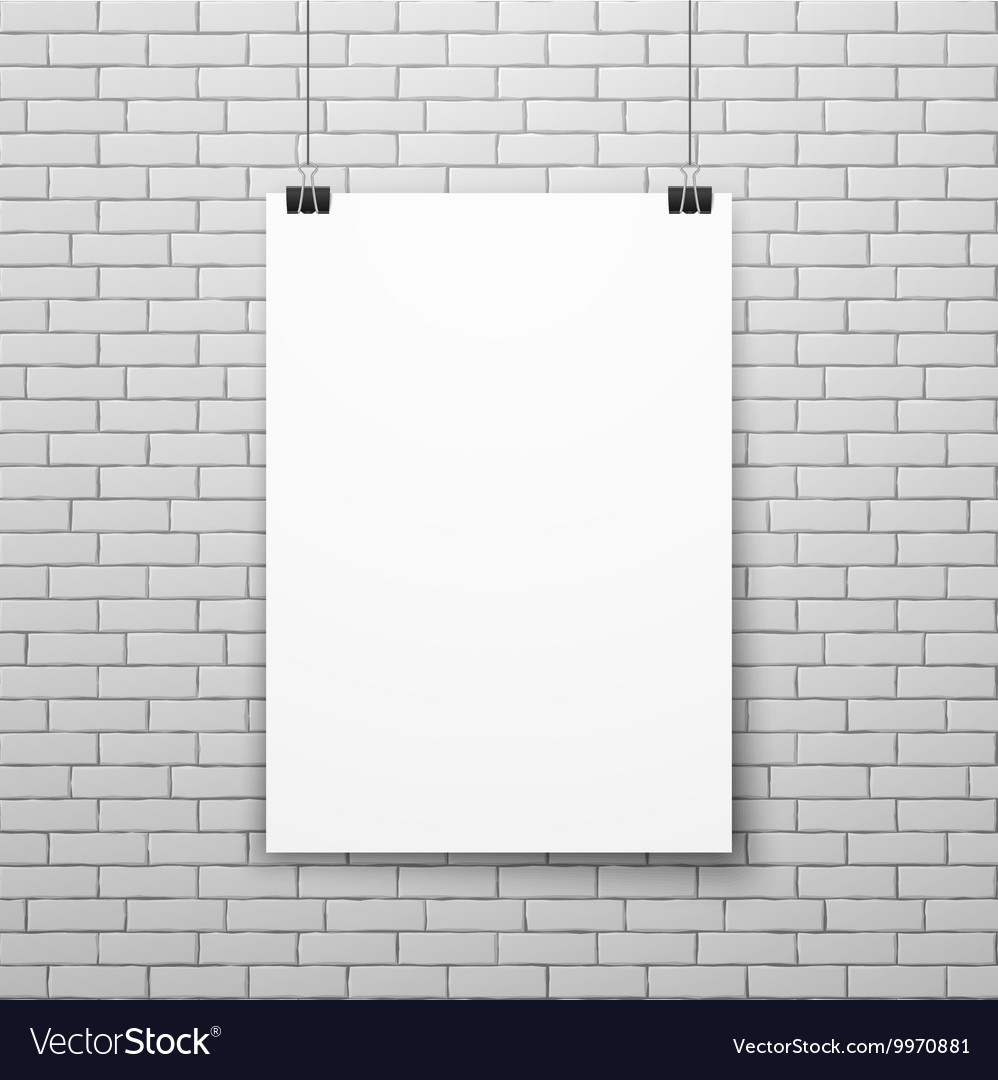 Blank white poster on brick wall vector