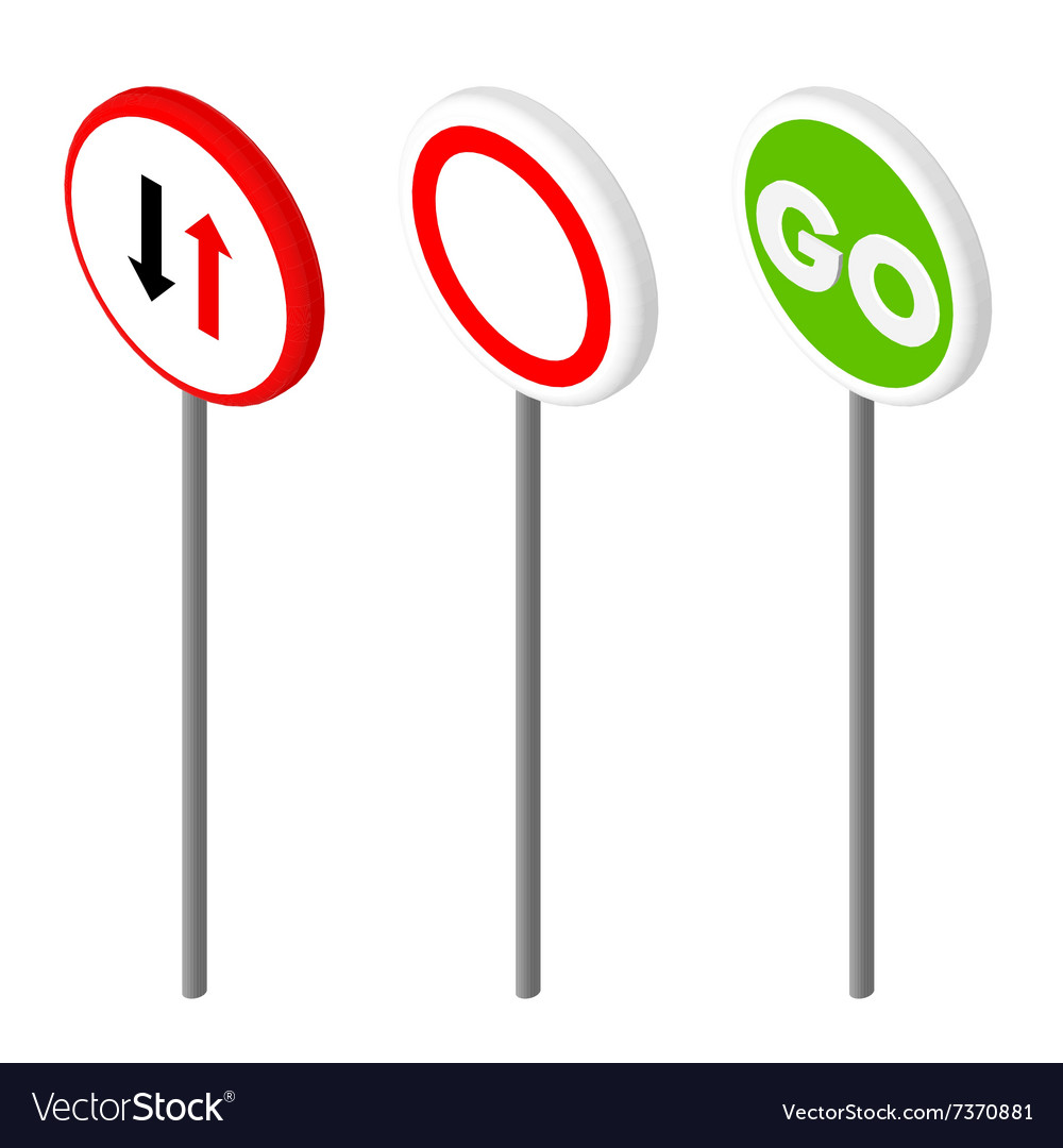 Isometric icons various road sign european and vector