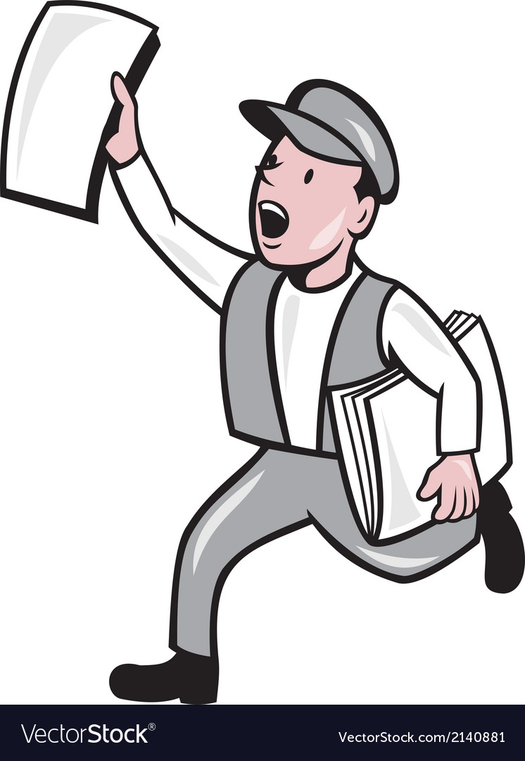 Newsboy selling newspaper cartoon vector