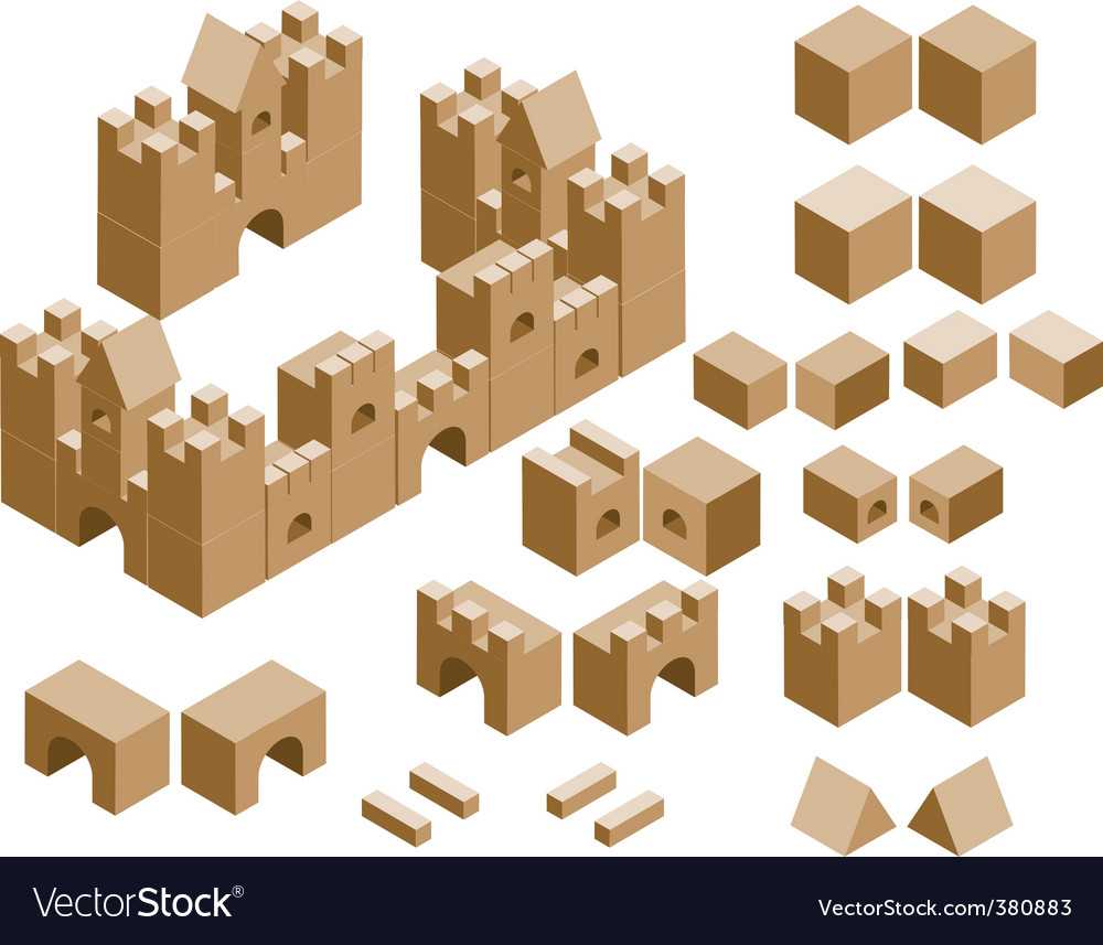 Castles built with cubes vector