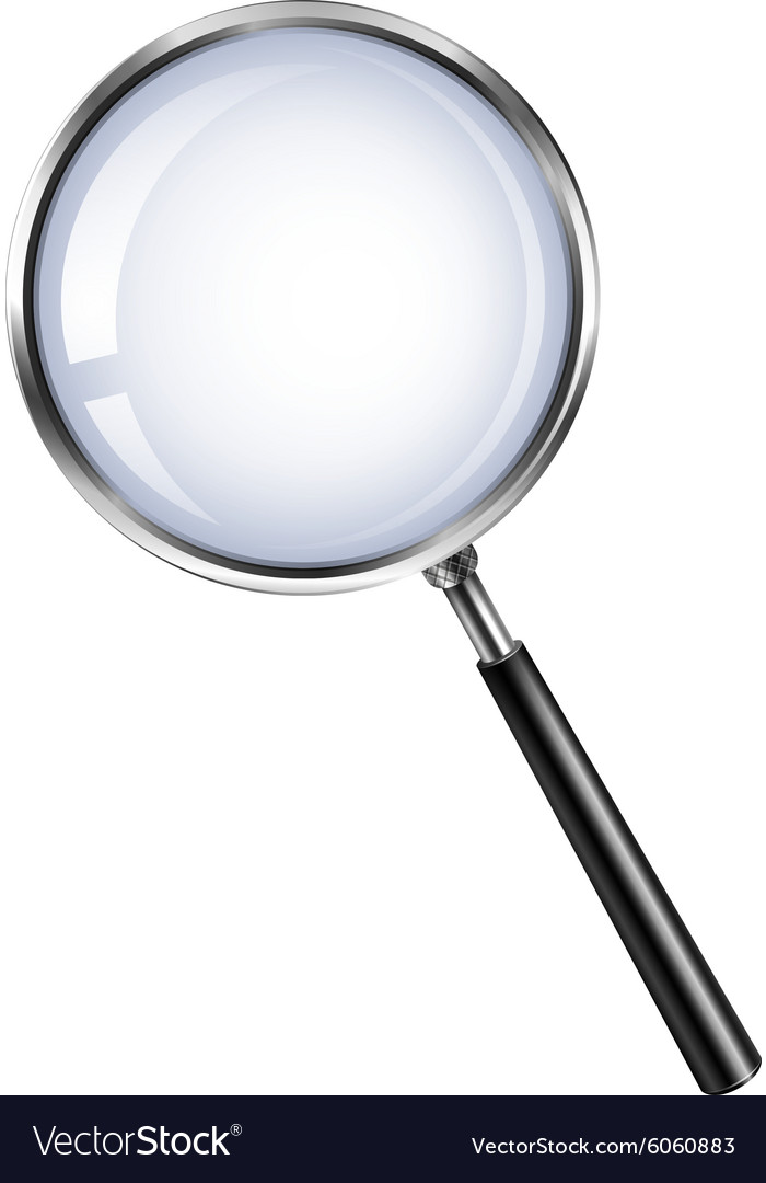Magnifying glass on white vector
