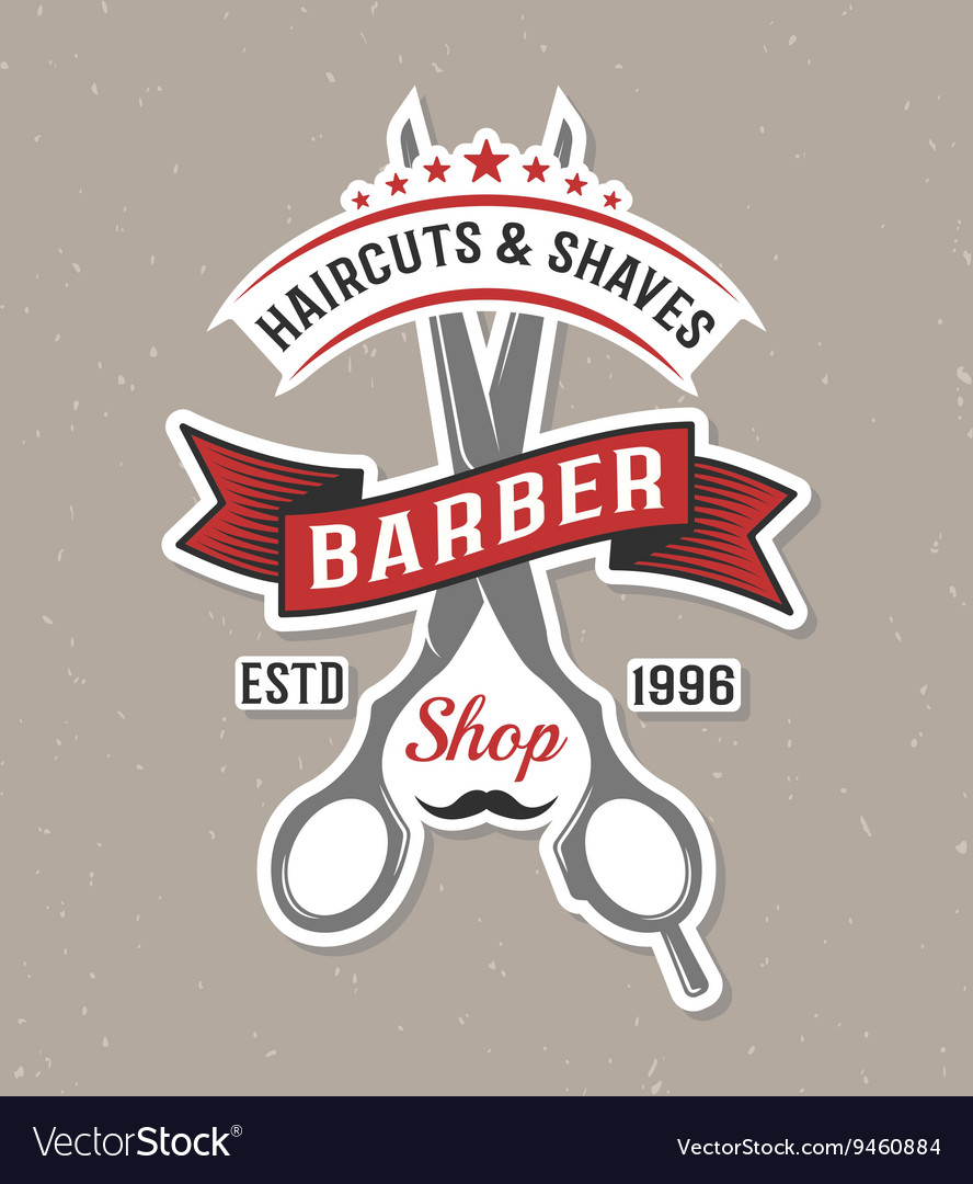 Color barber scissors poster vector