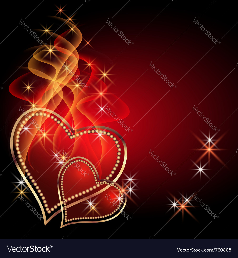 Burning two hearts vector