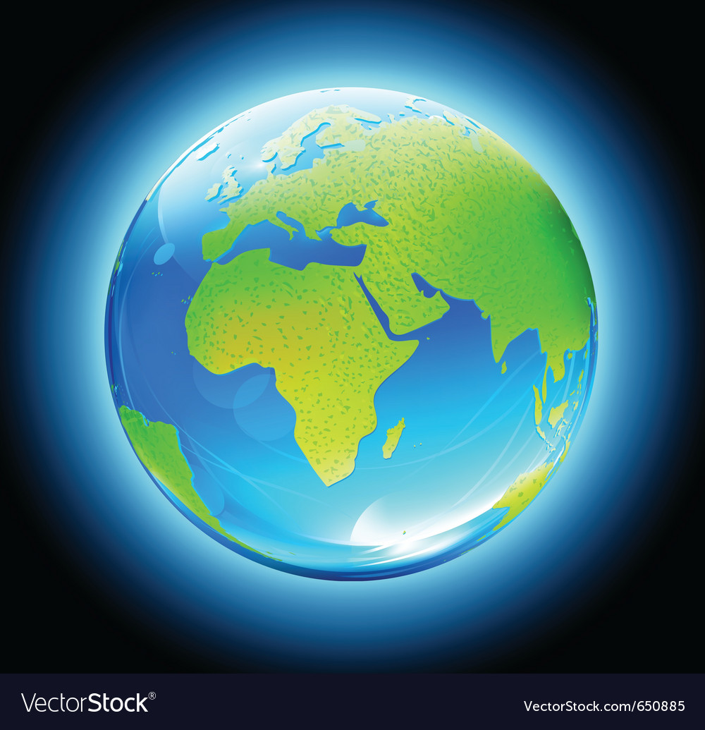 Glossy earth map globe vector