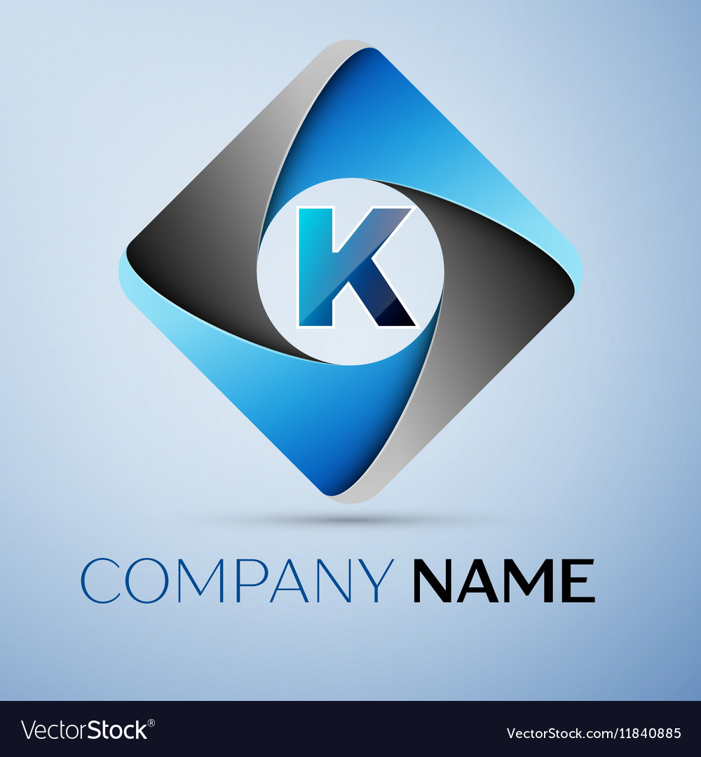 Letter k logo symbol in the colorful rhombus vector