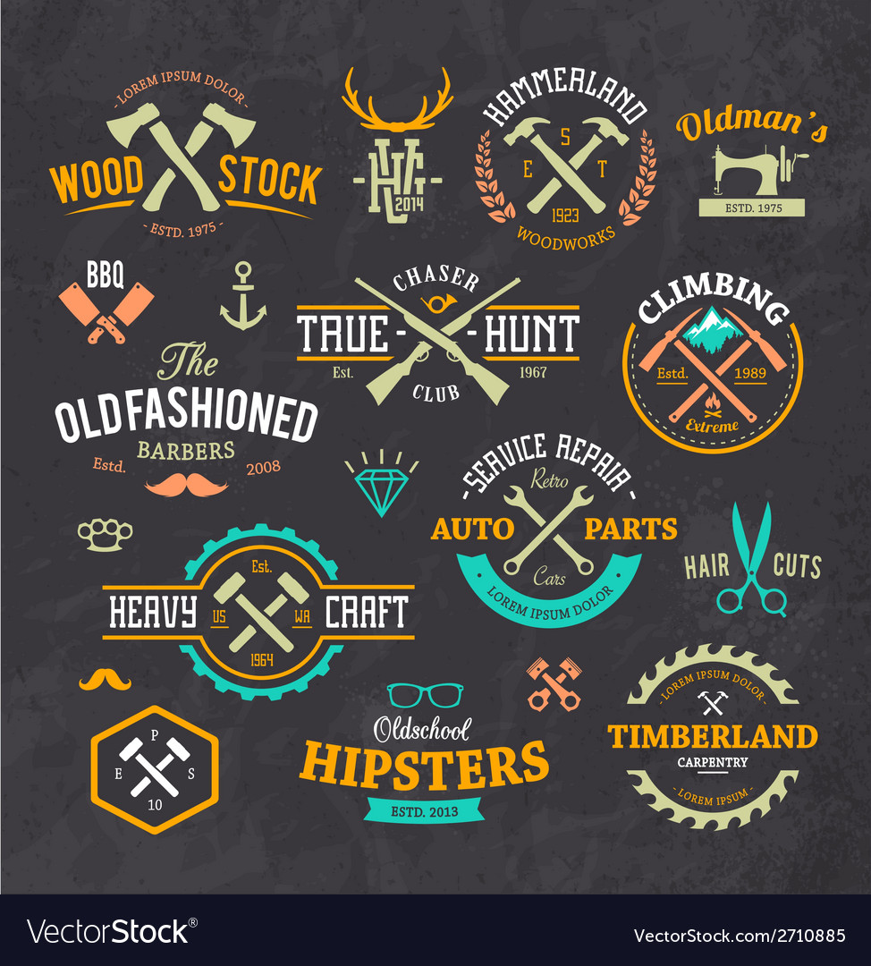 Retro emblems 1 vector