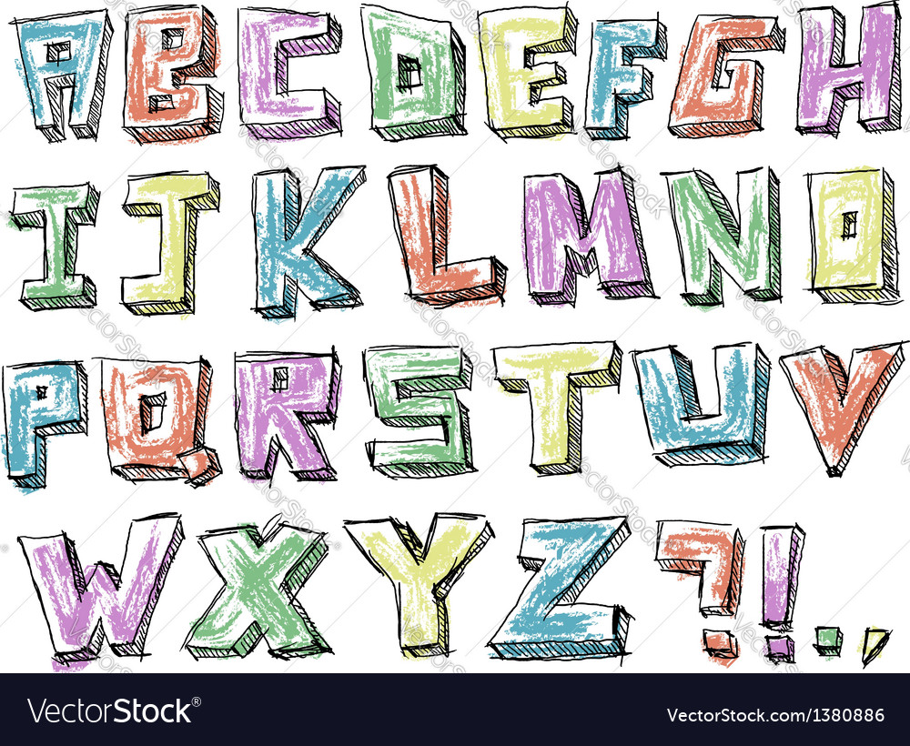 Colorful sketchy hand drawn alphabet vector