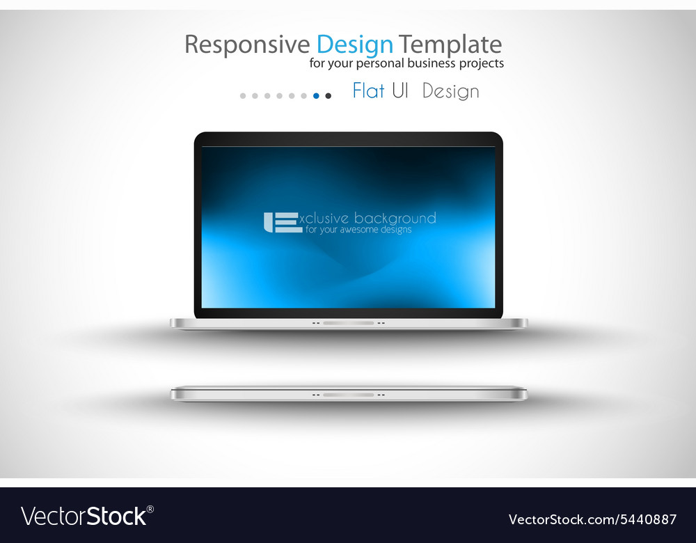 Modern laptop  open and close version with vector
