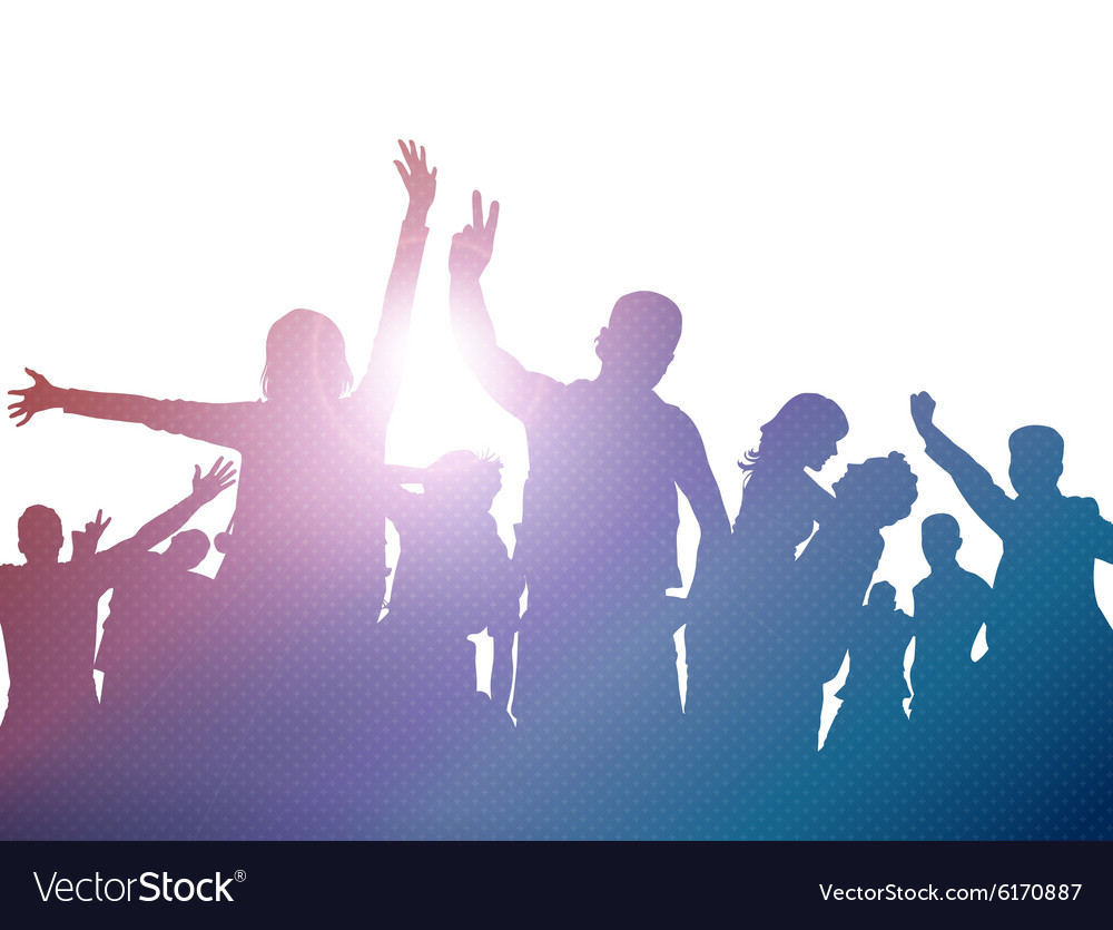 Party crowd silhouettes vector